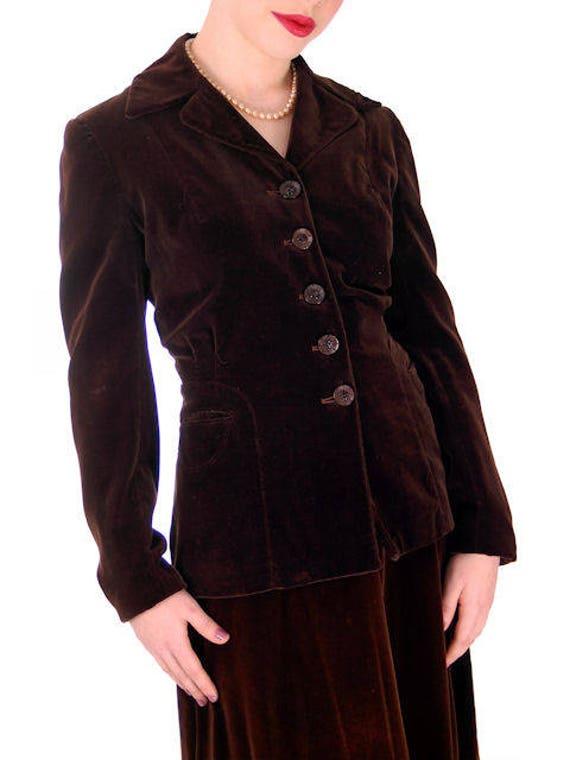 Ladies 36 Brown 1940s US Suit 6 27 Sel Velvet Chocolate Ber 4 Vintage 44 Rayon Size p4dzpq