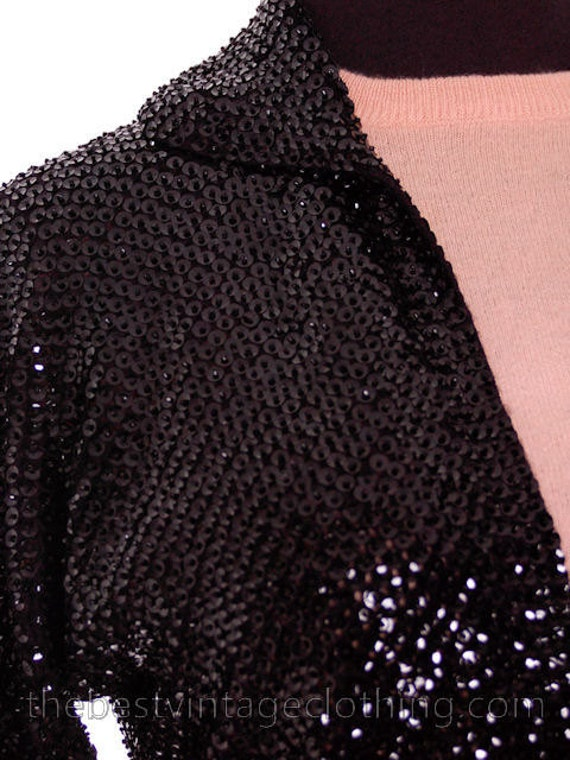 Ave Small Gorgeous Sweater 1950s Shrug Saks Black Vintage Sequin Medium Fifth nzzPx8