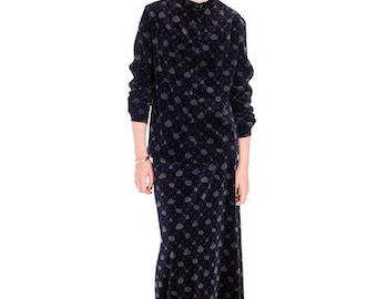 Stunning Vintage Marimekko Dress Skirt Suit Blue/Gray Velvet Print 1976 38/10