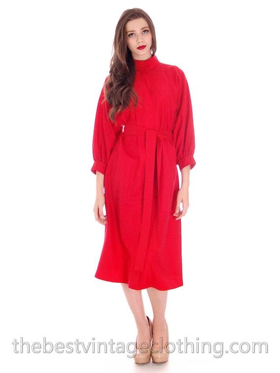 Vintage Vuokko Womens 1970s Dress Red Fine Wool Un
