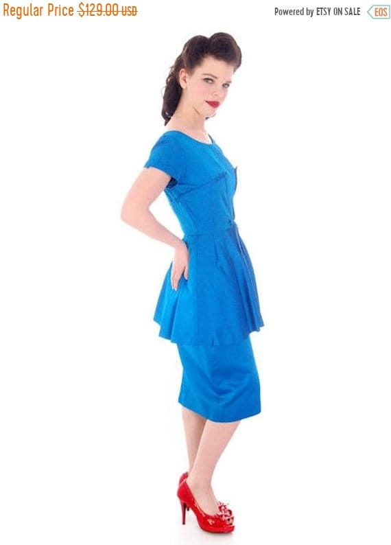 Limited Time 25% Off Hot Vintage 1950s Party Dress Electric Blue 50s Cocktail Wiggle Dress Peplum Hobble Dress