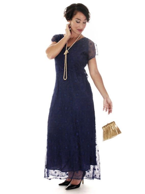 Rare 1930s Vintage Dress Maxi  Bright Royal Blue S