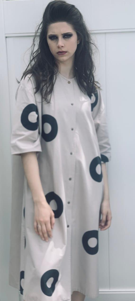 Vintage Vuokko Beige Womens Dress S Gray Circles I