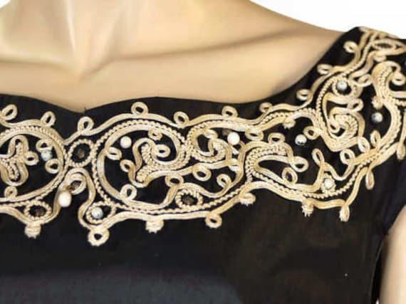 Vintage Party  Dress Black Polished Cotton  White… - image 2