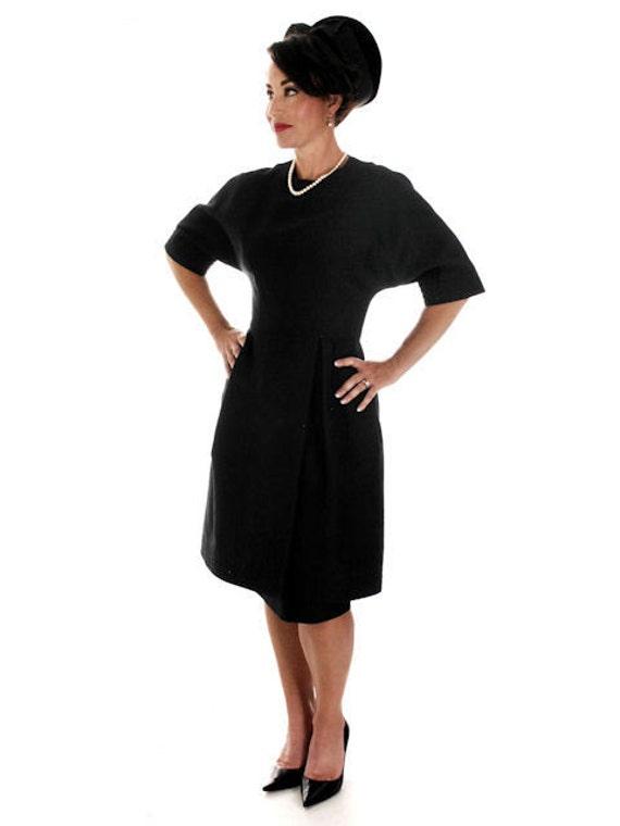 Vintage 1950s Teal Traina Party Dress Designer 50s