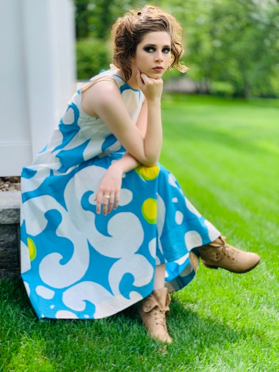 VTG 1966 RARE Marimekko Maxi Gown Turquoise Blue,