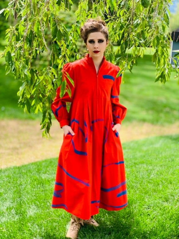 Vintage Vuokko Womens Dress  XXS Bright Red Blue A