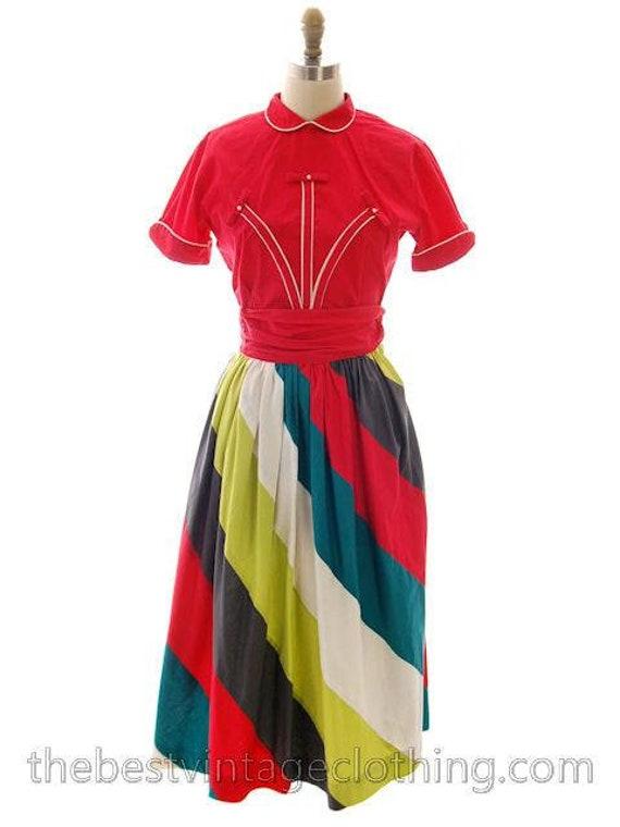 Vintage Cotton Skirt Awning Stripes Junior House 1