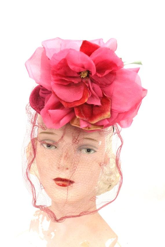 Vintage Fascinator Veiled Doll Hat Hot Pink Huge Flowers 1940s  9cab71c24ca