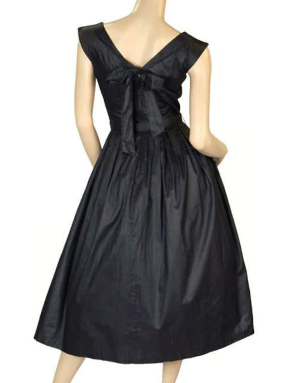 Vintage Party  Dress Black Polished Cotton  White… - image 3