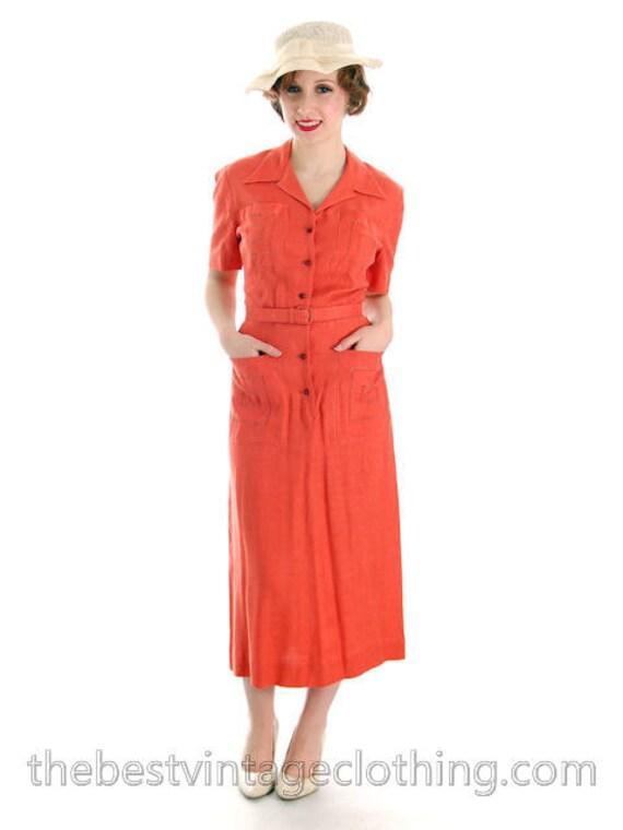 1940s Slim L'Aiglon Colored Skirt Slim Dress Day Small Linen Vintage Pencil Papaya Shape wPPzqI6U4