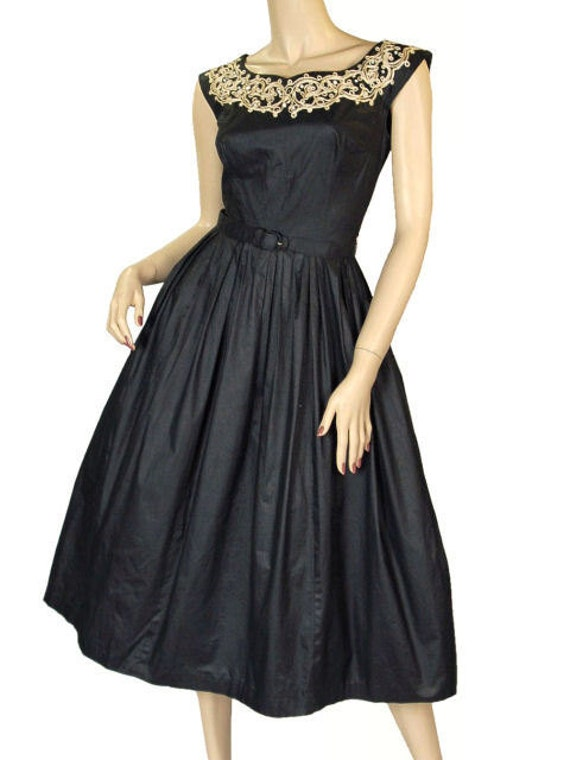 Vintage Party  Dress Black Polished Cotton  White… - image 4