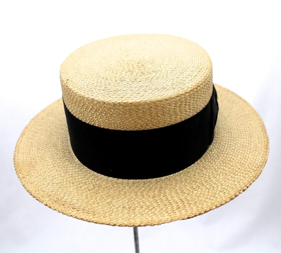 Mens Stetson Boater Skimmer Hat Straw Natural Early Teens or  a0bbe46f8c5