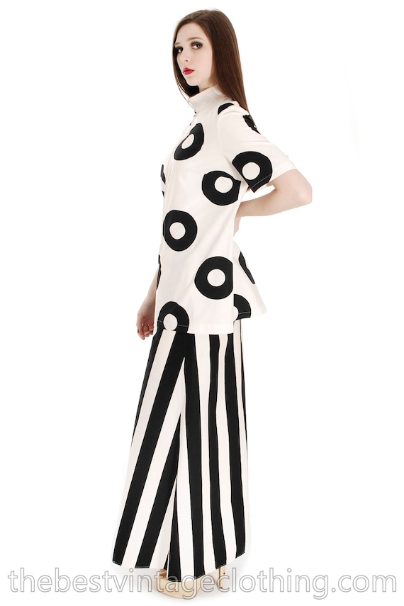 Vintage 1970s Vuokko Designer Black And White Circ