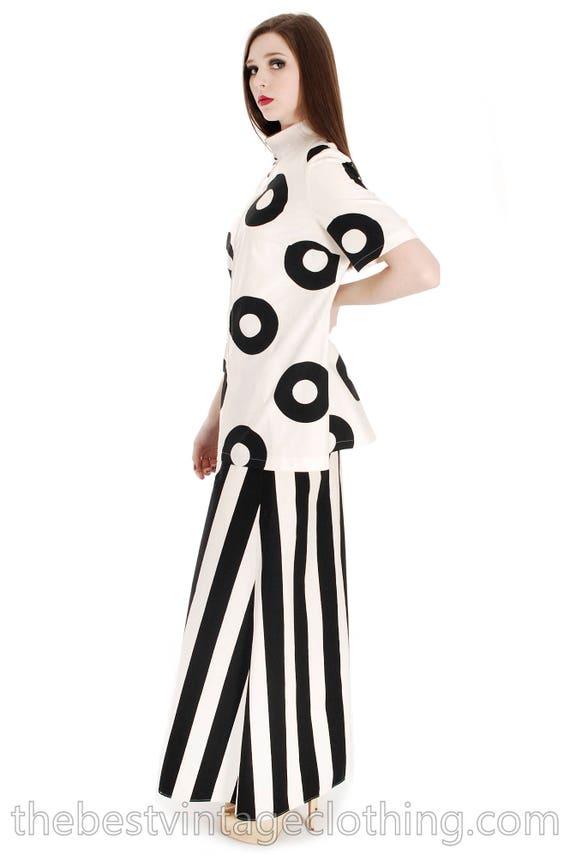 Vintage 1970s Vuokko Designer Black And White Circ