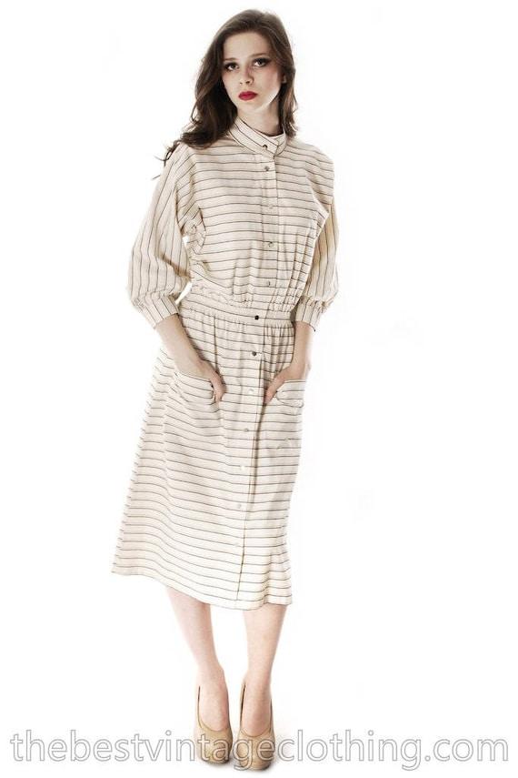 Vintage 1970s Vuokko Designer Stripes Print A Line
