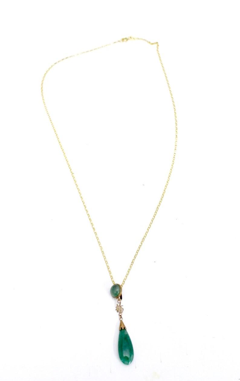 7604d9ef4d320d Vintage 14K Teardrop Pendant Jade Necklace 4.2g Total 20   Etsy
