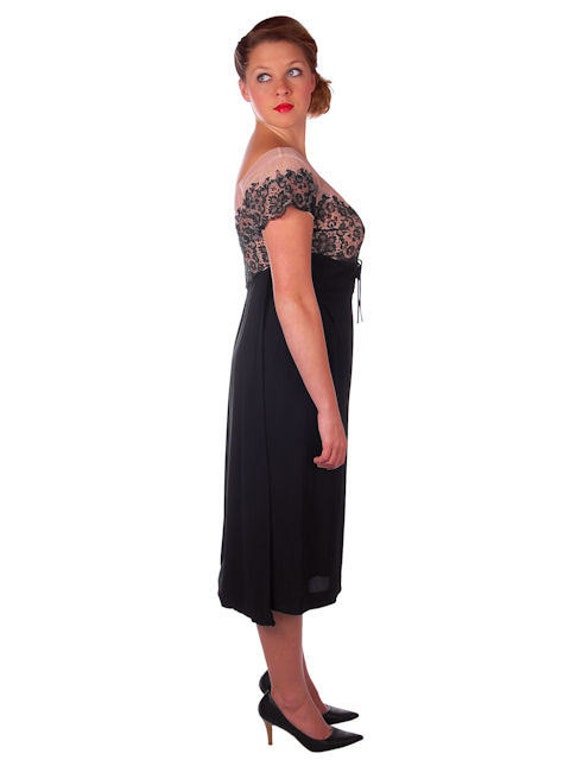 Lace 50s Cocktail Dress Hobble 1950s Black Wiggle Party Dress Dress Vintage Dress with amp; Train Nude fna6vq