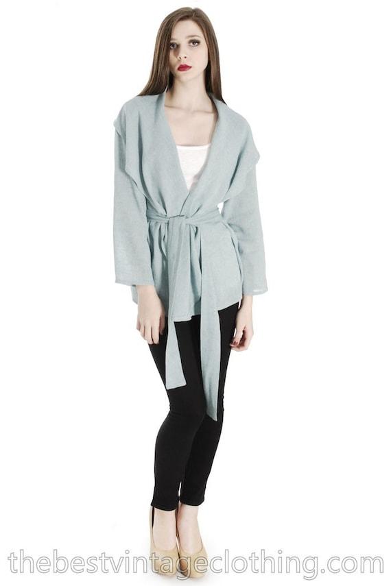 Vintage Vuokko Short Jacket Aqua Linen Designer Sh
