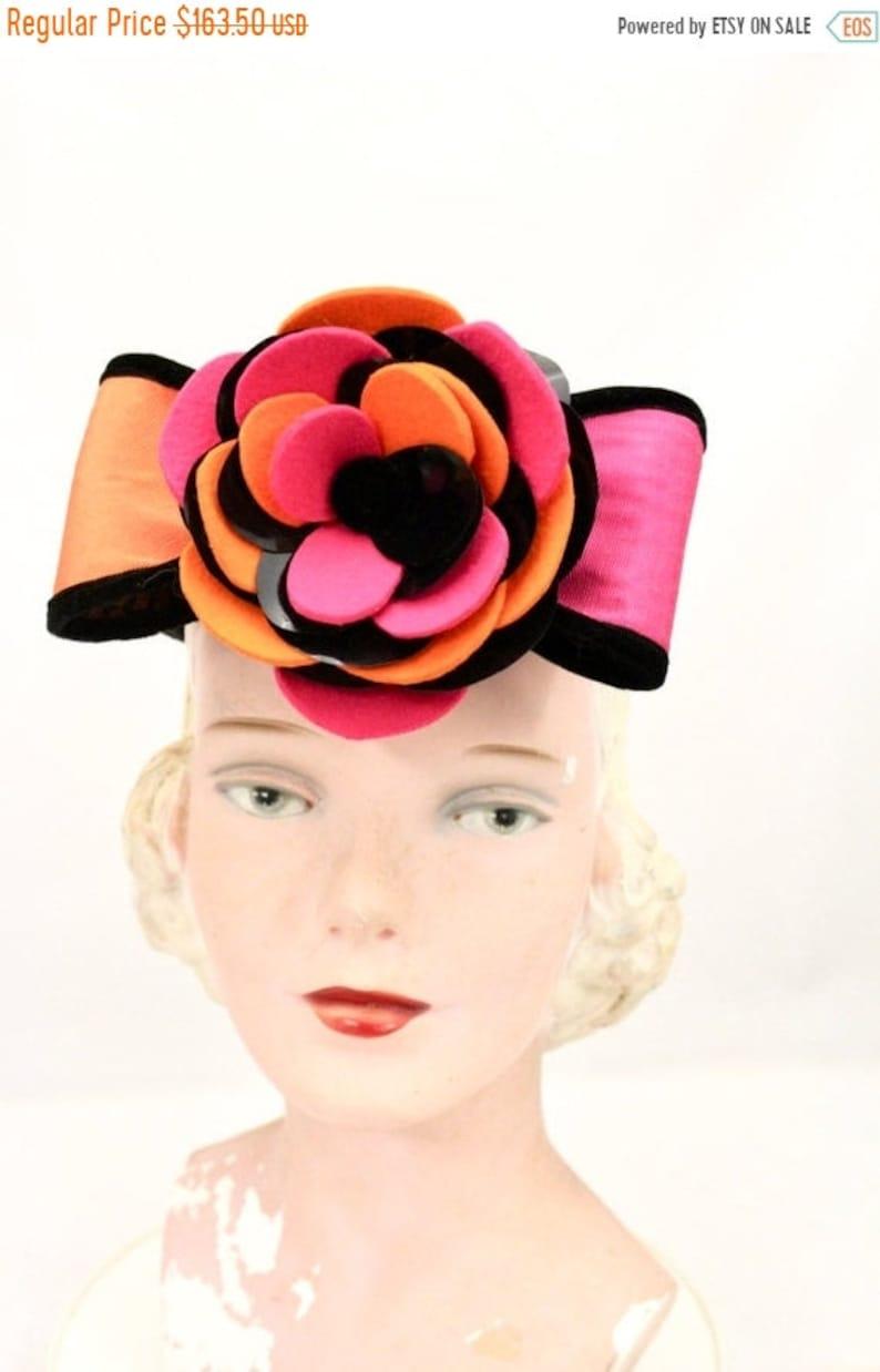 f6cc51dfc Vintage Whittall & Shon Color Block Pillbox Hat Orange Magenta O/S Church