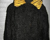 Reinvented black persian lamb fur jacket from the 1940 39 s