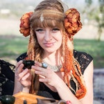 Autumns Flower Headdress-Headdress-Headpiece-Fairy Headdress-Feather Headdress-Belly Dance Headpiece-Flower Headdress-Burning Man