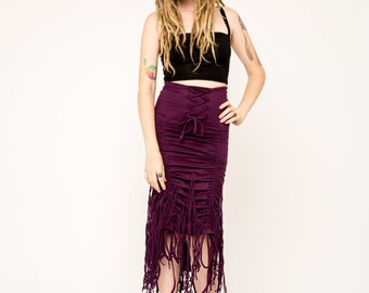 Fringe Skirt- Long Skirt- Ruche Skirt- Fringe Dress- Boho Clothing