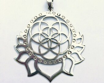 Seed of Life- Silver Pendant- Tribal Jewelry- Geometry Jewelry- Sacred Pendant- Sacred Geometry-Lotus Jewelry- Yoga Jewelry- Yoga Pendant