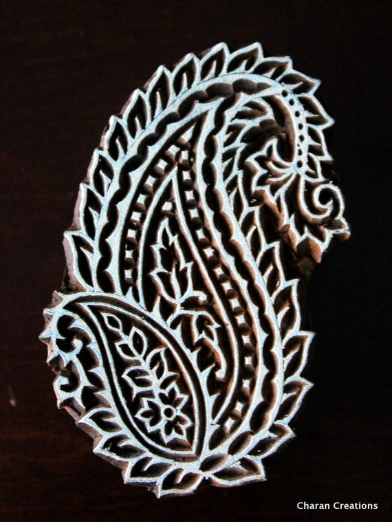 Indian Wood Block Paisley Print Scrapbook Stamp Handcarved Use Paper Pottery Etc