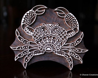 Textile Stamp, Wood Block Stamp, Tjaps, Indian Wood Stamp, Pottery Stamp, Hand Carved- Zentangle Crab