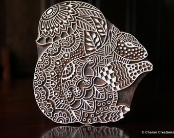 Textile Stamp, Wood Block Stamp, Tjaps, Indian Wood Stamp, Pottery Stamp, Hand Carved- Zentangle Squirrel
