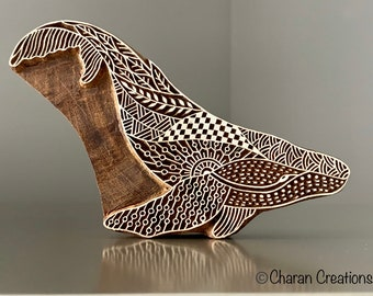 Pottery Stamp, Tjap, Hand Carved Stamp, Woodblock Stamp- Zentangle Whale