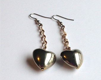 Vintage Silver Heart Earrings Puffy Hearts Vintage Silver