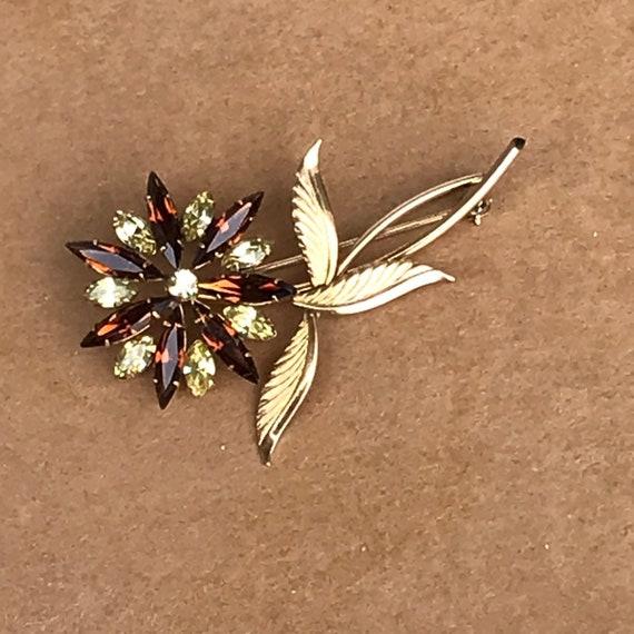 Vintage Floral Rhinestone Pin TK Brooch Pin 12 CTGF Sunflower  ed96add96f