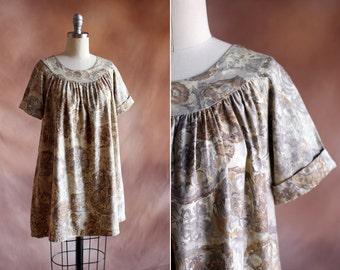 vintage 1960's pale hawaiian floral cotton baby doll mini dress / size s - m