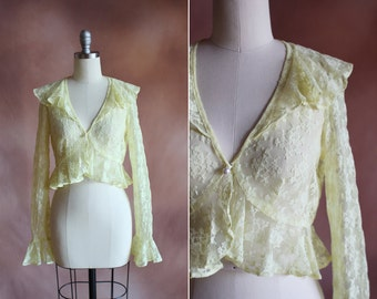 vintage 1960's sheer yellow lace cropped peplum bed jacket blouse / size xs - s