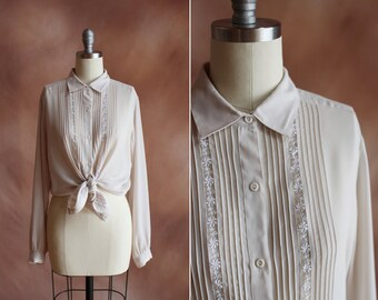 vintage 1980's pale cream sheer silk crepe embroidered blouse / size m