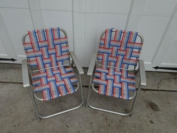 Vintage 50s CHILD Size Folding Aluminum Lawn Chairs set Pair MID CENTURY  usa Red White Blue Colors ja