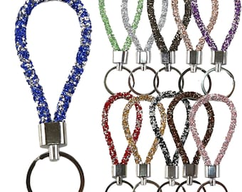 NEW Ladies Keyring Diamante Crystal Silvertone Metal Keyring Initial BLING
