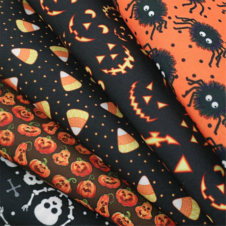 Halloween Cotton Fabric Bundle 5 Designsset,Fabric For Sewing Quilting