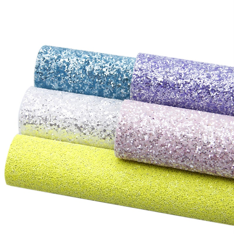 5 pcsset Faux Leather Fabric,Chunky Glitter Canvas Sheet,Glitter Sheet,Leather For Earring,Craft Supplies