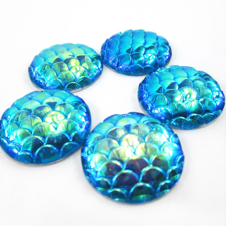 Mermaid Scale Cabochons 10pcs,Iridescent AB Color Resin Cabochon,Fish Scale Flatbacks,25mm Flat Back Resin Embellishments,Jewelry Supplies