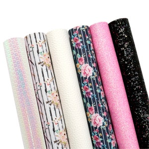 Floral Faux Leather Sheets Bundle 6pcsset,Stripe Printed Leather Fabric Sets,Leatherette Sheets,Glitter Canvas Sheets