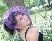 glamorous net birdcage veil- purple