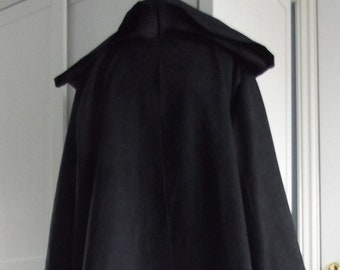 56b7d16995 Death Eater Grim Reaper Star Wars inspired Sith Jedi black robe cloak with  sleeves   hood cosplay character