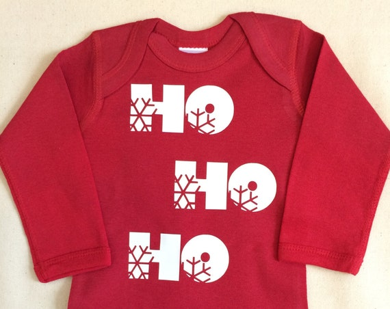 HO HO HO Baby Bodysuit Short Sleeve (not pictured) in Red