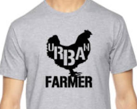 URBAN chicken FARMER Unisex t-shirt pictured in Heather Grey
