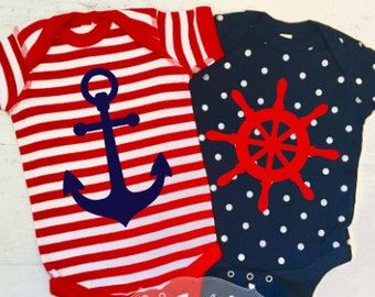 Nautical Bodysuits Anchor and Wheel on Stripe and Polka Dot Bodysuits Red and Navy Blue