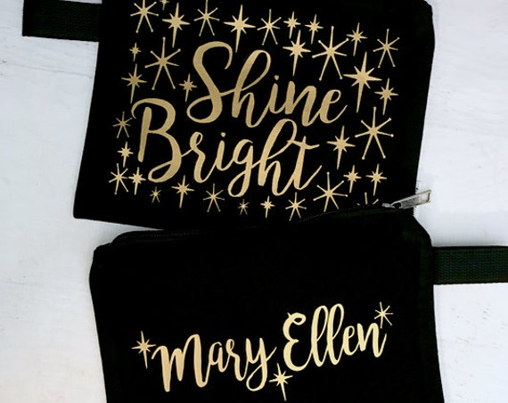 Canvas Makeup Bag Shine Bright Black with Gold Metallic Print with Vintage Style Stars with Name on Other Side