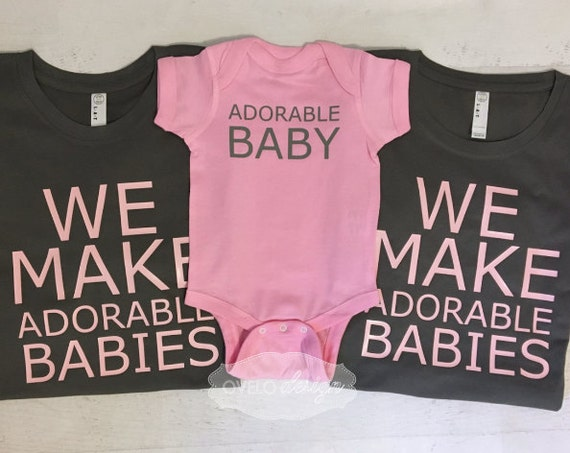 We Make Adorable Babies Set Pictured for new Mom and Dad in Charcoal and Light Pink combo